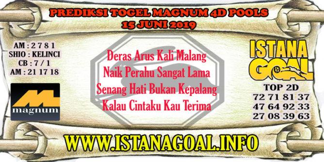 PREDIKSI TOGEL MAGNUM 4D POOLS 15 JUNE 2019