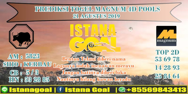 PREDIKSI TOGEL MAGNUM 4D POOLS 21 AGUSTUS 2019