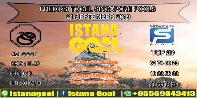 PREDIKSI TOGEL SINGAPORE POOLS 21 SEPTEMBER 2019