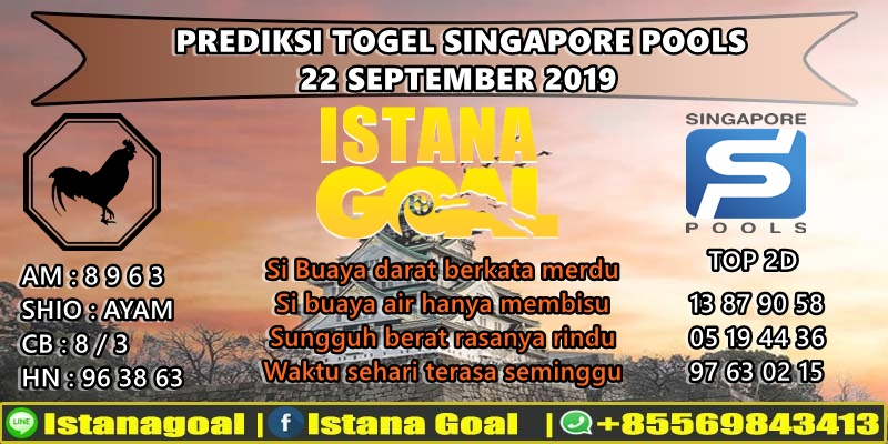 PREDIKSI TOGEL SINGAPORE POOLS 22 SEPTEMBER 2019