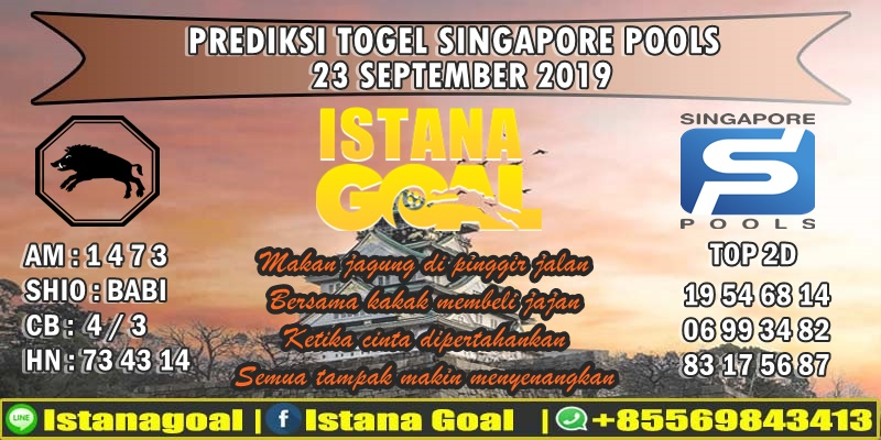 PREDIKSI TOGEL SINGAPORE POOLS 23 SEPTEMBER 2019