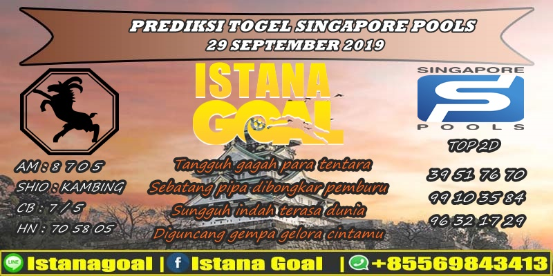 PREDIKSI TOGEL SINGAPORE POOLS 29 SEPTEMBER 2019