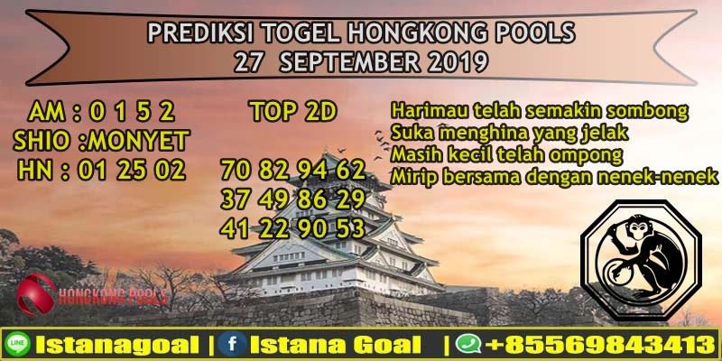PREDIKSI TOGEL HONGKONG POOLS 27 SEPTEMBER 2019
