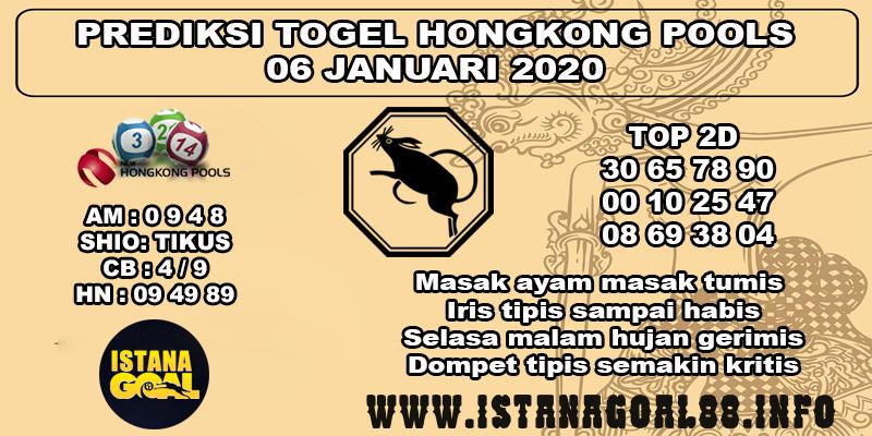 PREDIKSI TOGEL HONGKONG POOLS 06 JANUARI 2020