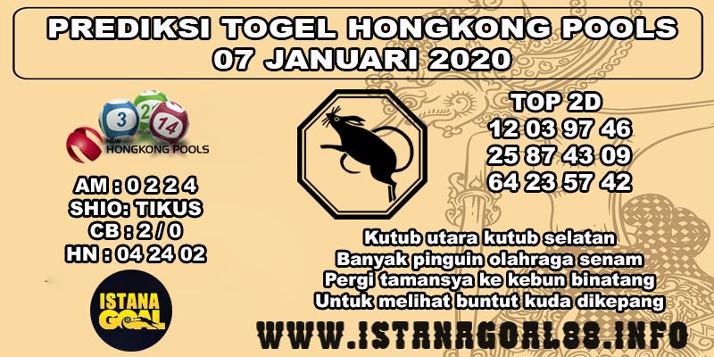 PREDIKSI TOGEL HONGKONG POOLS 07 JANUARI 2020