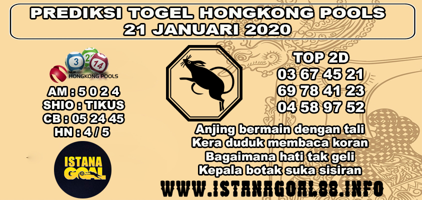 PREDIKSI TOGEL HONGKONG POOLS 21 JANUARI 2020