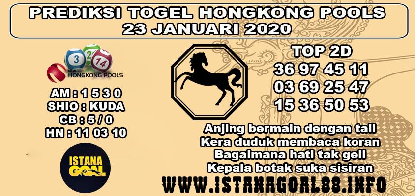 PREDIKSI TOGEL HONGKONG POOLS 23 JANUARI 2020