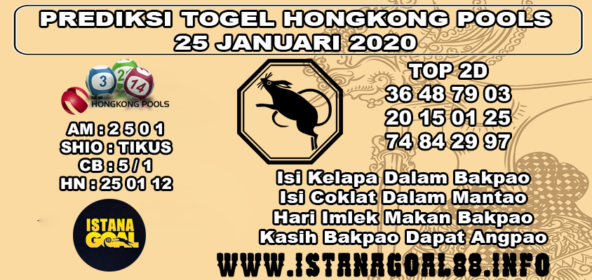 PREDIKSI TOGEL HONGKONG POOLS 25 JANUARI 2020