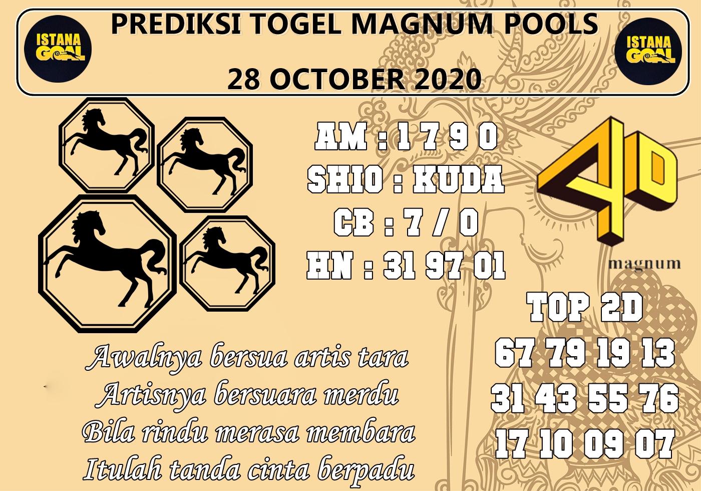PREDIKSI TOGEL MAGNUM POOLS 28 OCTOBER 2020