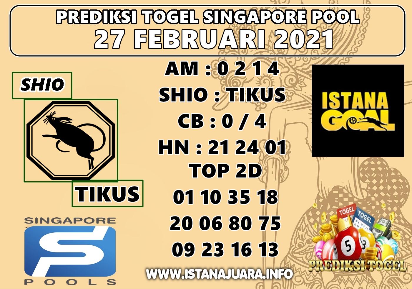 PREDIKSI SINGAPORE POOLS 27 FEBRUARI 2021