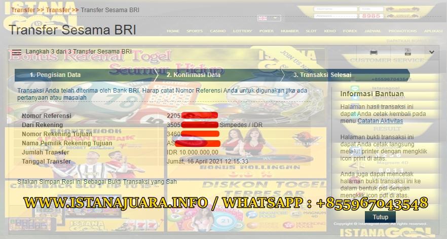 Info Kemenangan Jp Slot Di ISTANA GOAL 16 April 2021